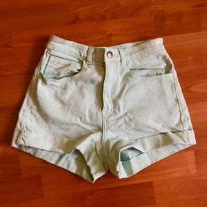 American Apparel Mint Green High Waisted Shorts